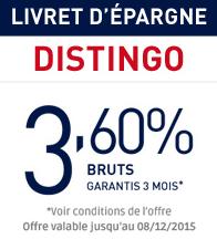 Livret Distingo : taux de 3.60%, offre prolongée jusqu'au 8 décembre !