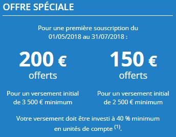 Assurance-Vie Mes Placements Retraite : 150 ou 200€ offerts à la souscription, selon le montant versé, sous conditions, jusqu'au 31 juillet 2018