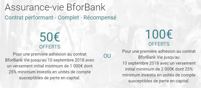 Offre de bienvenue sur le contrat d'assurance-vie BforBank Vie : 50 ou 100€ offerts selon votre versement initial