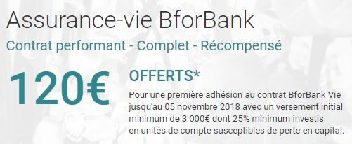 Assurance-Vie BforBank Vie : 120€ offerts pour 3.000€ versés à saisir avant le 5 novembre 2018, sous conditions