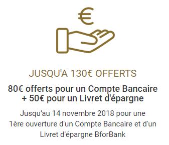 BforBank : 130€ offerts pour l'ouverture simultanée de votre compte courant et du livret épargne BforBank