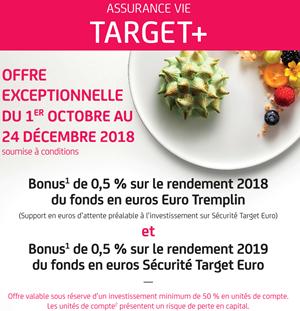 Assurance-Vie Primonial Target+ : bonus de rendements 2018 et 2019 et fonds Sécurité Target Euro davantage accessible jusqu'au 15 décembre 2018