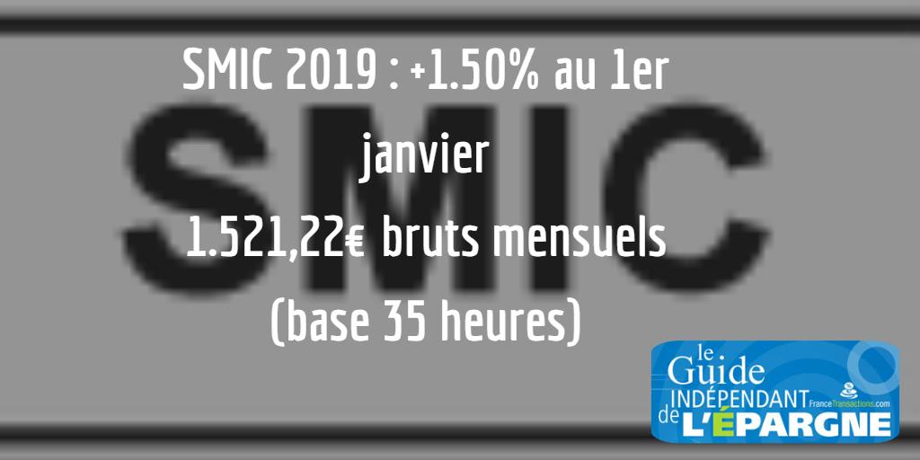 Hausse du SMIC de +1.50% au 1er janvier 2019, publiée au Journal Officiel
