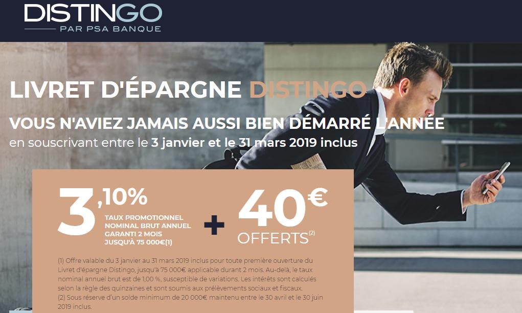 DERNIERS JOURS ! Livret épargne DISTINGO : 3.10% brut + 40€ offerts, sous conditions @PSAbanquefr #Epargne #Banque