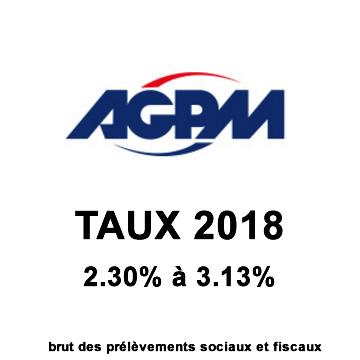 Assurance-VIE AGPM Vie, taux fonds euros 2018 : 2.30% (Éparmil) et 3.13% (option épargne handicap)