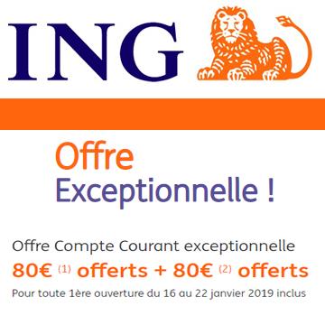 Compte courant ING : une offre exceptionnelle, 80€ + 80€ = 160€, accessible jusqu'au 22 janvier 2019 23h59