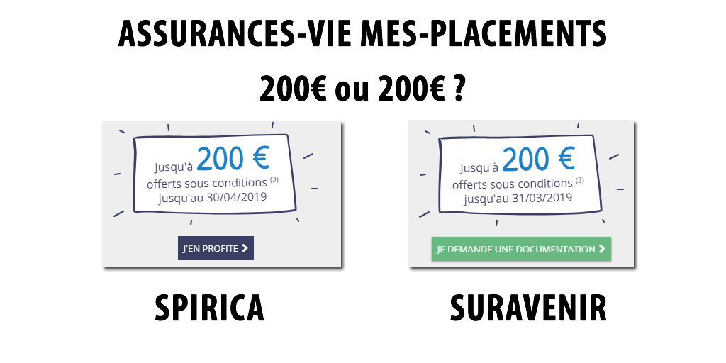 Assurances-Vie Mes-Placements, assurées par Suravenir ou Spirica : 150 ou 200€ offerts selon votre versement, sous conditions