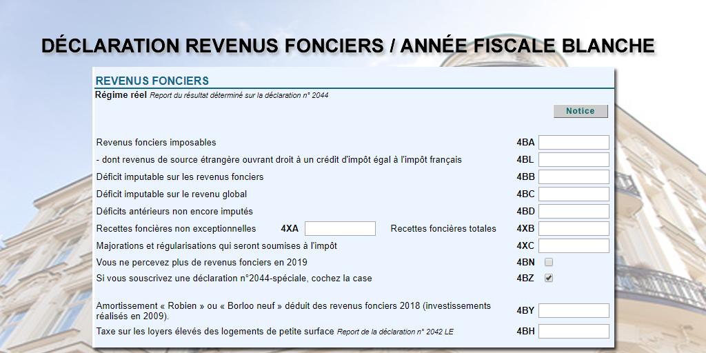 Comment déclarer ses revenus fonciers 2018 (impôts 2019) ? Année fiscale blanche 2018, quels impacts ?