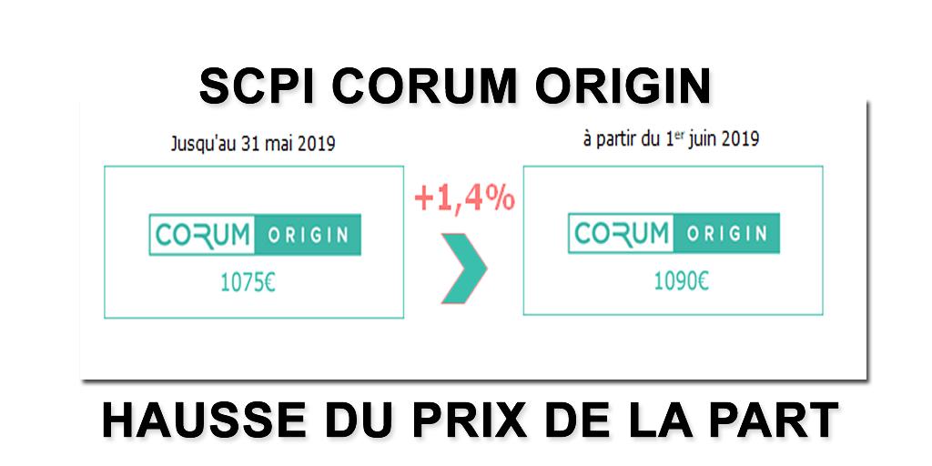 SCPI Corum Origin : hausse du prix de la part au 1er juin 2019