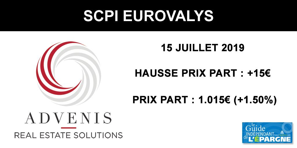SCPI Eurovalys : augmentation du prix de la part de 1.50% au 15 juillet 2019