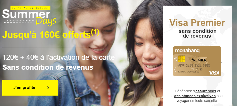 Summer Days Monabanq jusqu'au 24 juillet 2019 : 160€ offerts pour l'ouverture de votre compte courant, sans condition de revenus