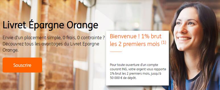 Livret épargne orange ING : taux de 1% pendant 2 mois, à saisir avant le 27 août 2019