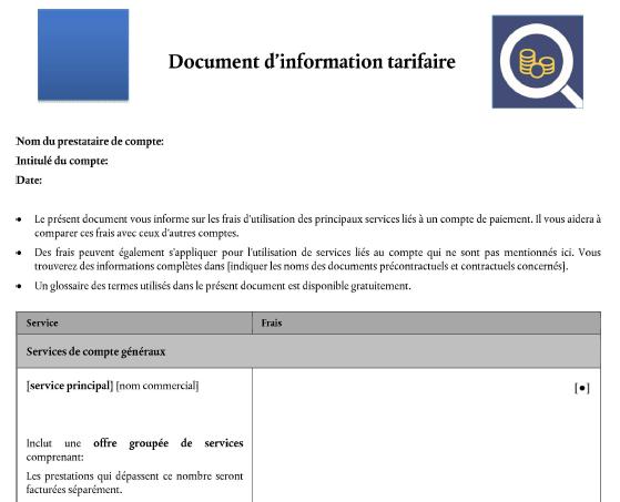 Tarifs bancaires : Le DIT (Document d'Information Tarifaire) devient obligatoire à partir de ce jour