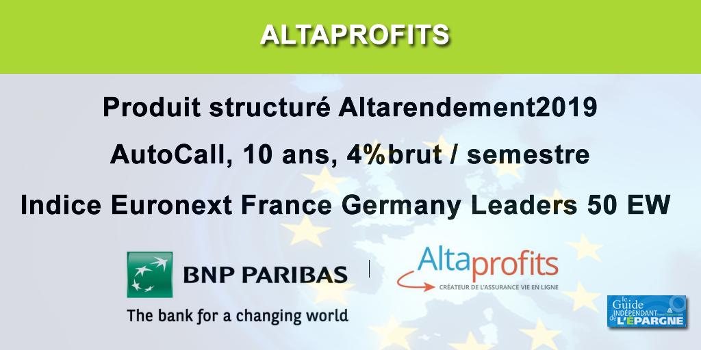 Produit structuré : AltaProfits propose ALTARENDEMENT2019 jusqu'au 20 décembre 2019