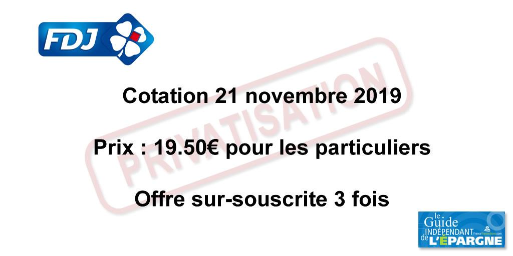 L'action Française des Jeux (FDJ) va coter à partir de 9h30, premiers échanges le lundi 25 novembre