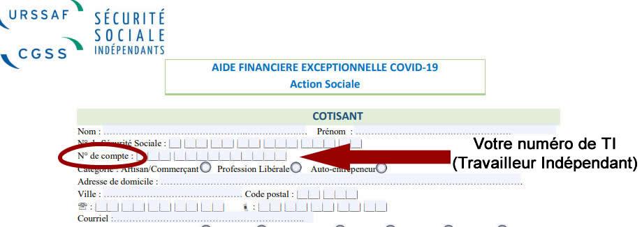 A quoi correspond ce numéro de compte sur le formulaire de demande d'aide financière?