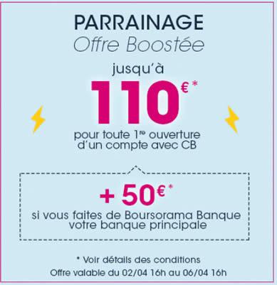 Boursorama, offre de parrainage: jusqu'à 160€ offerts à saisir avant le mardi 6 avril 2021, 16 heures!
