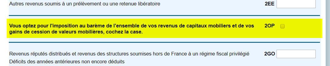 Copie écran formulaire de déclaration de revenus en ligne