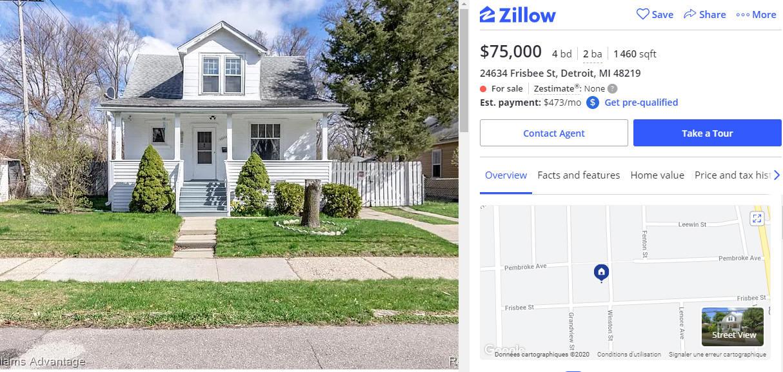 Maison de 135 m2, 4 chambres, 2 salles de bain, 68200€, située à Détroit (Michigan/USA)