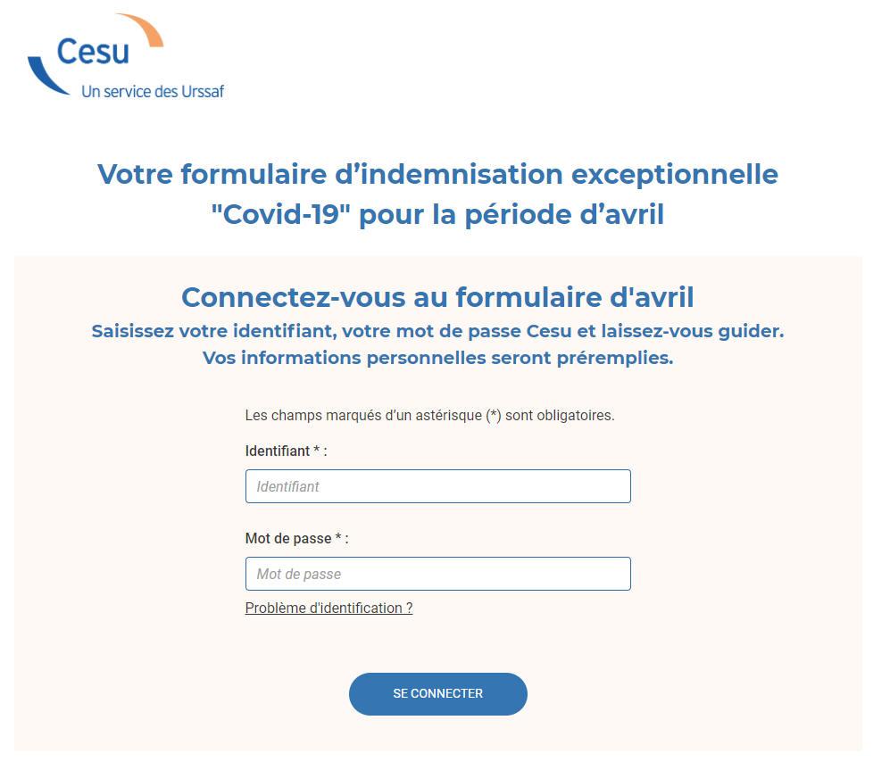 Copie écran formulaire CESU déclaration chômage partiel