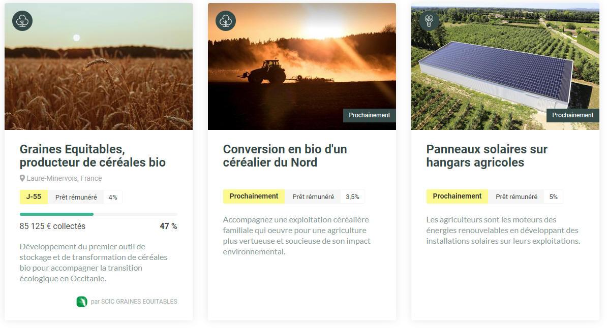 Exemples de projets MiiMOSA proposés aux investisseurs