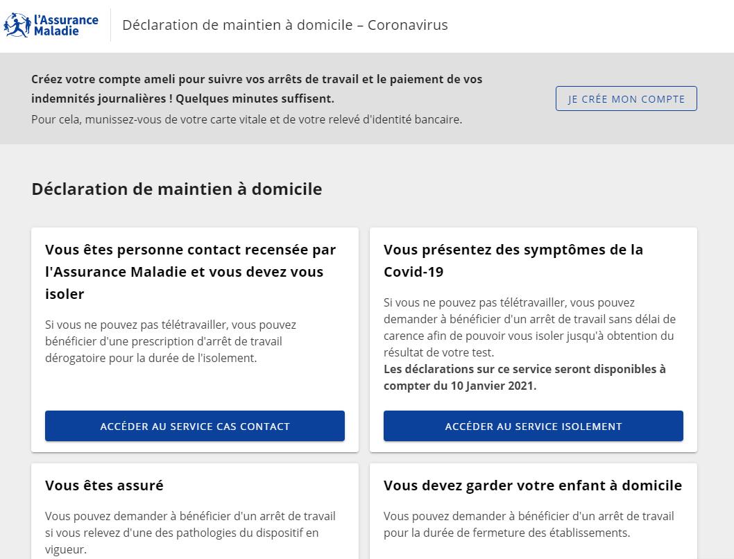 Page d'accueil du site officiel Ameli.fr pour la déclaration de votre arrêt maladie
