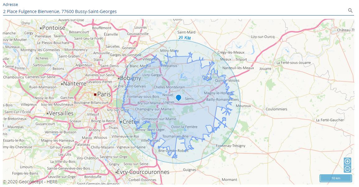 Double affichage: le cercle de 20km de rayon + les routes et chemins accessibles