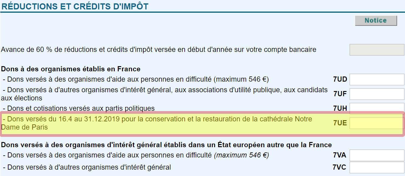 Dons pour la reconstruction de Notre-Dame de Paris: Inscrivez ligne 7UE de votre déclaration n°2042 RICI