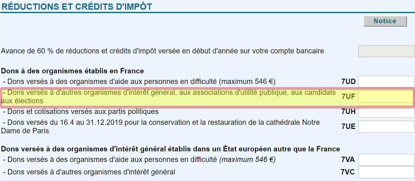 Portez case 7 UF de la déclaration 2042 RICI le montant des versements faits à des organismes situés en France