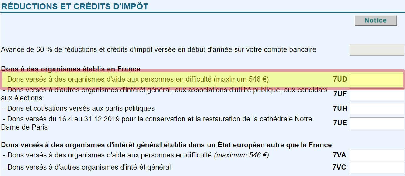 Portez case 7UD de la déclaration 2042 RICI, les sommes versées, à des organismes d'aide aux personnes en difficulté situés en France