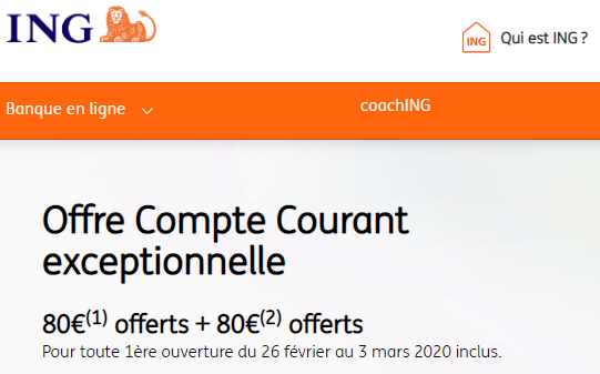 ING : 160€ offerts jusqu'au 3 mars 2020 (sous conditions)