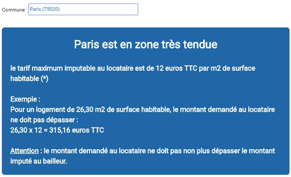 Résultat du simulateur pour le code postal 75 020 (Paris)
