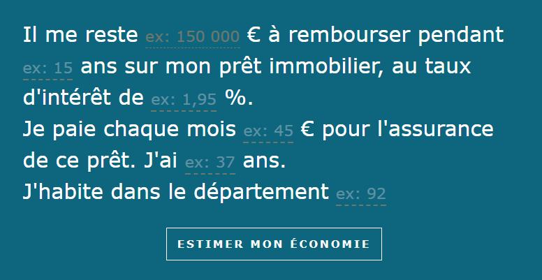 Copie écran formulaire simulateur assurance emprunteur Allianz