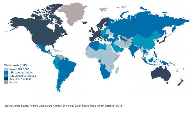 Répartition des richesses patrimoniales dans le monde