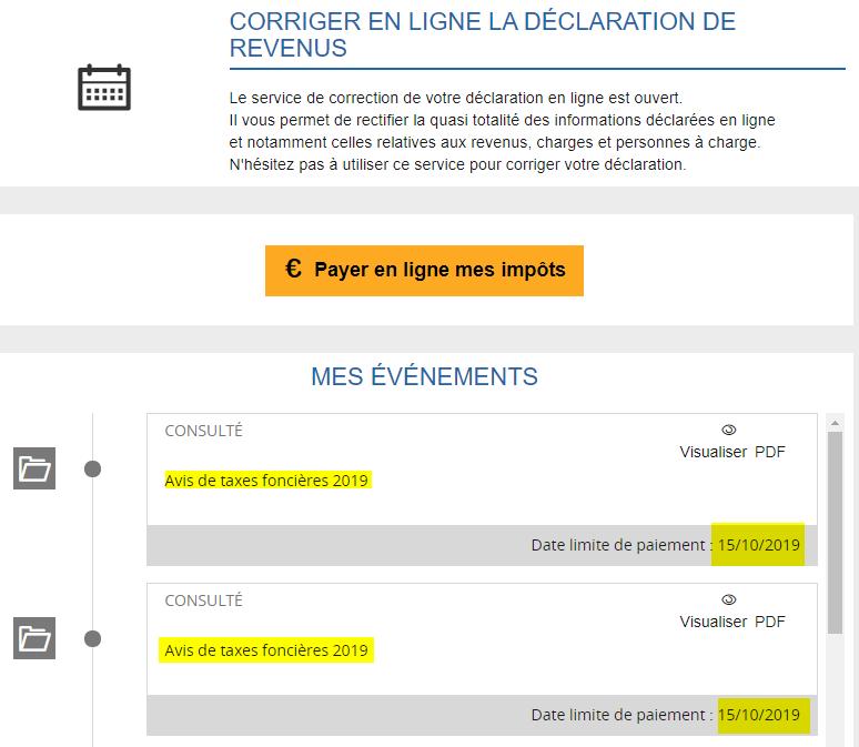 Consultation des avis de taxes foncières dans l'espace contribuable impots.gouv.fr