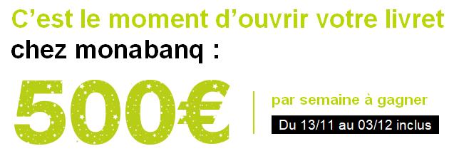 500€ offerts pour l'ouverture de votre livret A / LDDS