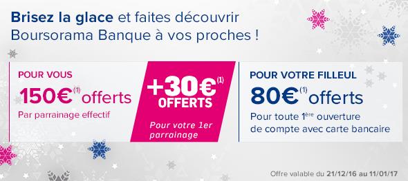 Parrainage bancaire Noël 2016: Boursorama pousse jusqu'à offrir 180€ pour votre premier parrainage