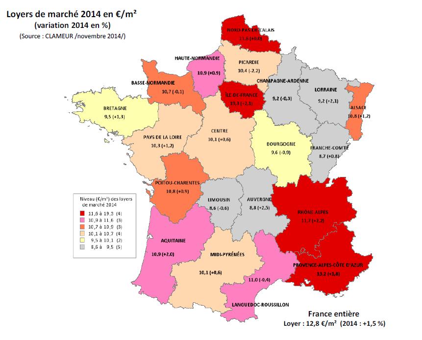 Location immobilière: un loyer moyen de 12,8 €/m2, en hausse de 1,5% en 2014