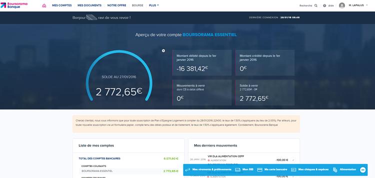 Nouvel espace client du site Boursorama banque