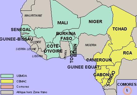La Zone franc regroupe 14 pays d'Afrique sub-saharienne, les Comores et la France