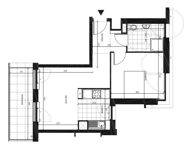 T2 neuf à Bretigny sur Orge, 43 m2, balcon de 6 m2, prix catalogue 177.000€