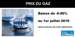 Prix du gaz : baisse de -6.8% en moyenne au 1er juillet 2019