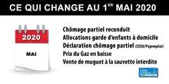 Ce qui change au 1er mai 2020 : chômage partiel, garde d'enfants, prix du gaz, vente du muguet