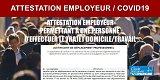 Coronavirus : Attestation employeur de déplacement professionnel indispensable d'une personne