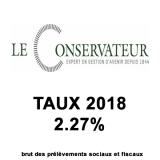Assurance-Vie Le Conservateur, taux fonds euros 2018 : 2.27%