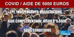Aide de 5000 euros pour les indépendants, commerçants, associations, TPE