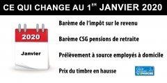 1er janvier 2020 : ce qui change, impôt, SMIC, Prime, retraites, CSG, taux légal, timbres...