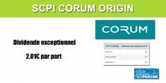 SCPI Corum Origin : distribution d'un dividende exceptionnel de 2.01€ par part