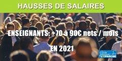 Hausse des salaires des enseignants dès 2021, entre 70 et 90€ nets par mois
