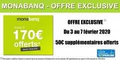 Monabanq : jusqu'à 170€ offerts à saisir avant le 9 février 2020 inclus